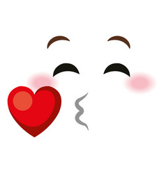 in love face emoticon kawaii style vector image