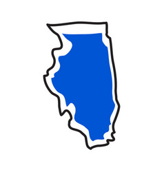 Isolated map of the state of illinois vector