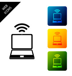 laptop and free wi-fi wireless connection icon on vector image
