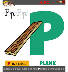 Letter p from alphabet with cartoon plank object vector