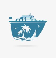 liner at pier in tropics vector image