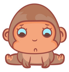 Little monkey sadly scene vector