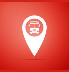 map pointer with bus icon on red background vector image