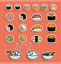 meal rolls sushi set vector image