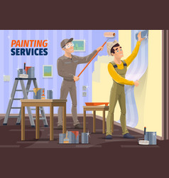 men painting wall applying wallpaper with tools vector image