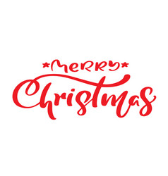 Merry christmas red vintage calligraphy text vector