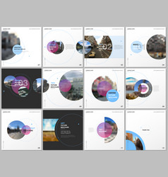 minimal brochure templates with pink and blue vector image