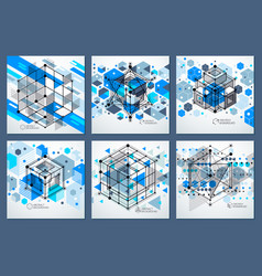 Modern isometric abstract blue backgrounds set vector