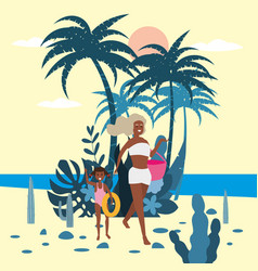 mother with child girl in bikini with beach bag on vector image