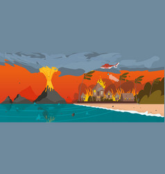 Natural disaster volcano eruption village resort vector
