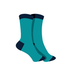 Pair of blue socks fashion style item vector