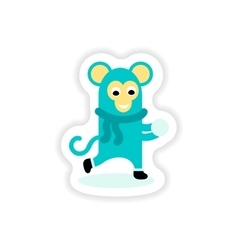 Paper sticker on white background monkey snow vector