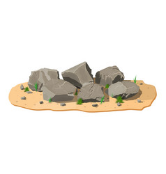 pile rock stone with grass on sand vector image