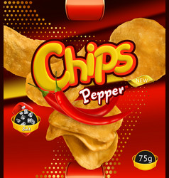 Potato chips pepper flavor design packaging 3d vector