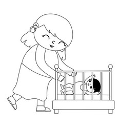 Pregnancy and maternity cute mom with her a baby vector
