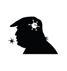 President donald trump silhouette with coronavirus vector
