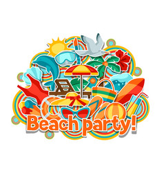print with summer and beach objects vector image