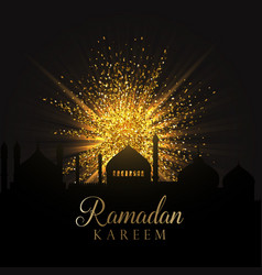 Ramadan background with gold glitter vector