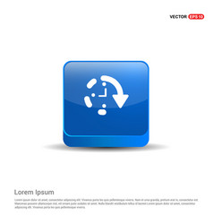 Repeat time icon - 3d blue button vector