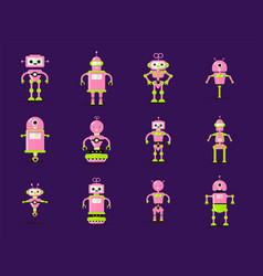 robot toys collection in pink green colors fun vector image