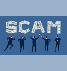 Scam financial money cash in business investment vector