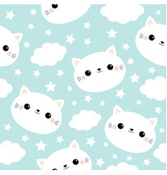 seamless pattern white cat face cloud star in the vector image