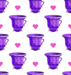 Seamless pattern with cartoon mugs-6 vector image
