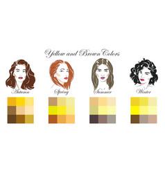 seasonal color analysis yellow and brown colors vector image