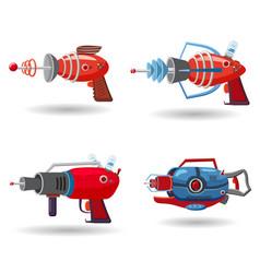 set cartoon retro space blaster ray gun laser vector image