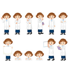 Set girl in science gown doing different acts vector