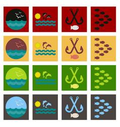 Set icons sea vector