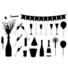 set of different new year s eve objects vector image