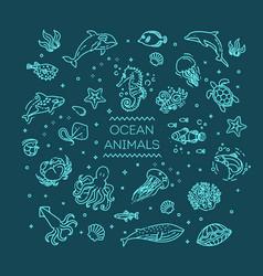 Set sea or ocean animals icon vector