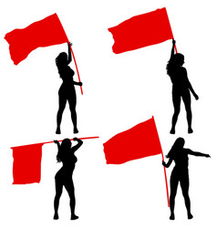 set silhouettes of woman with flags on white vector image