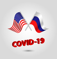 Set two waving crossed flags usa and russia vector