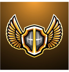 shield with wings mascot logo vector image