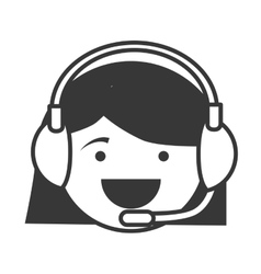 silhouette cartoon woman call center service vector image