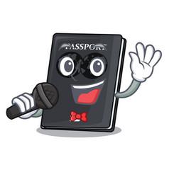 Singing black passport on the mascot table vector