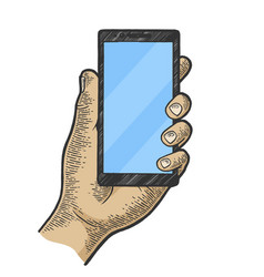 smart phone in hand color sketch engraving vector image