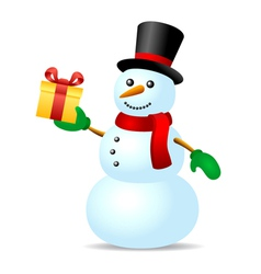 Snowman with present box vector image