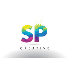 Sp s p colorful letter origami triangles design vector
