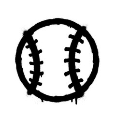 sprayed baseball icon graffiti overspray in black vector image