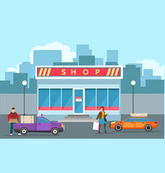 street store building view vector image