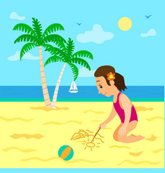 Summer vacations girl drawing image on sand vector