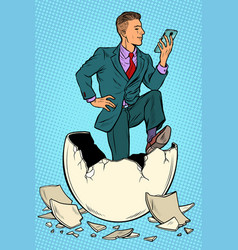 the businessman was born from an egg reads news vector image