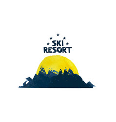 The sun rises over the mountain advertising ski vector