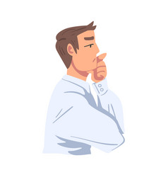 Thinking businessman portrait thoughtful vector
