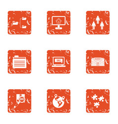 Transfer of skill icons set grunge style vector