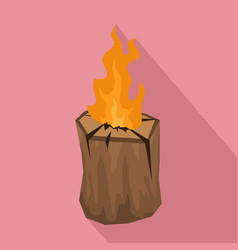 tree wood fire icon flat style vector image