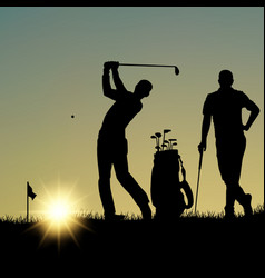 Two golfers silhouette playing on the playground vector